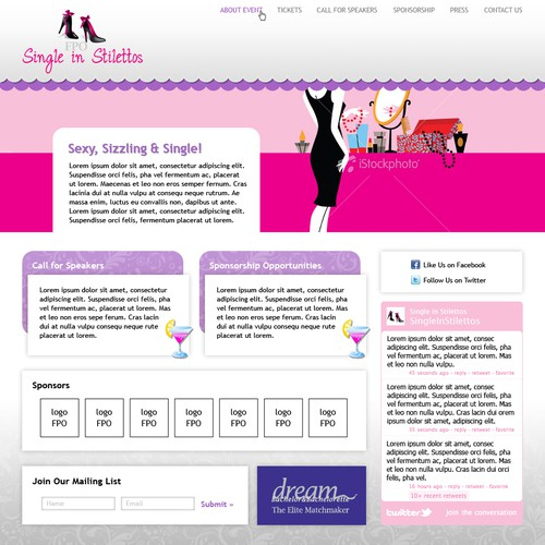 Stylish website with the title 'Feminine website design (contest winner)'