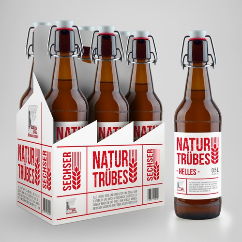 Liquor packaging with the title 'Beer label and six-bottle packaging'
