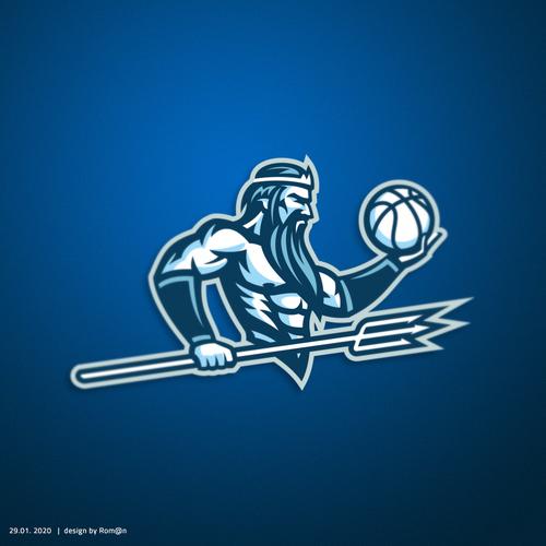 Beard logo with the title 'Poseidon mascot'