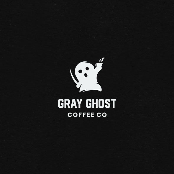 Ghost design with the title 'Playful Logo For Gray Ghost Coffee'
