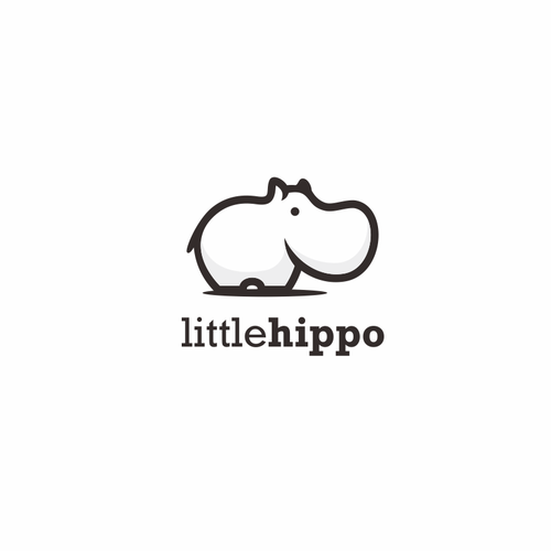 Hippo design with the title 'Cute logo Hippo'