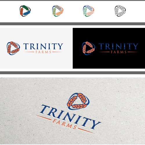 Trinity logo with the title 'Create a captive logo showing modern youth in agriculture for Trinity Farms'