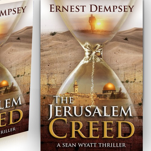 Historical design with the title 'The Jerusalem Creed - A Sean Wyatt Thriller'