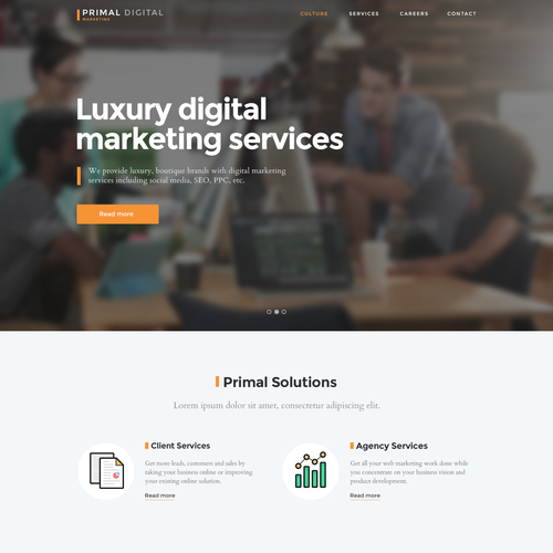 Startup website with the title 'Website for digital marketing agency'