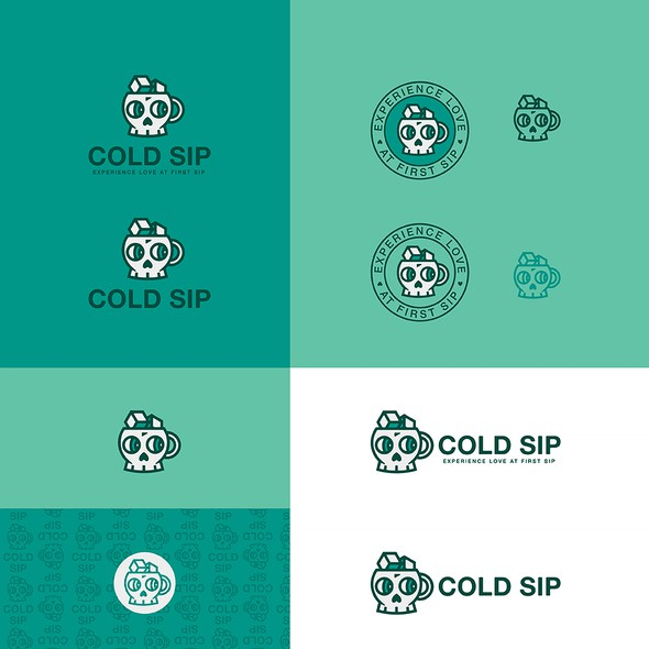 Mint green design with the title 'Cold Sip - logo design'
