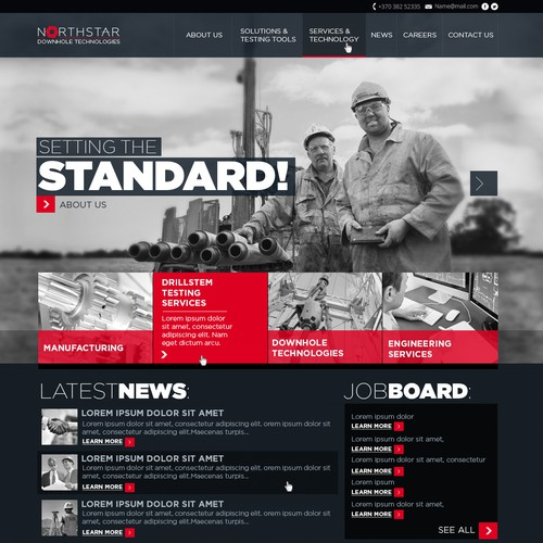 Industrial website with the title 'Northstar Downhole Technologies Web Design'