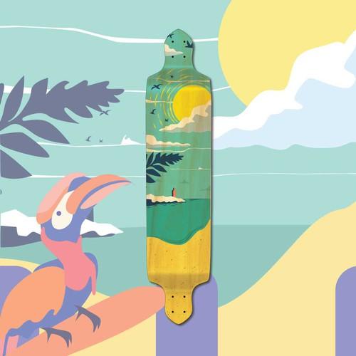 Skateboard artwork with the title 'Californian Summer Vibe Illustration'