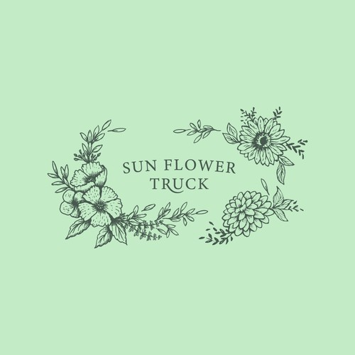 Sketchbook logo with the title 'Pen-Ink Illustrated Sun Flower Truck '