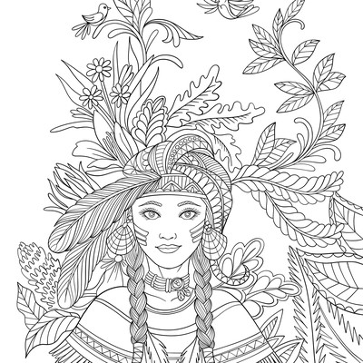 60 illustrations for Native American coloring book
