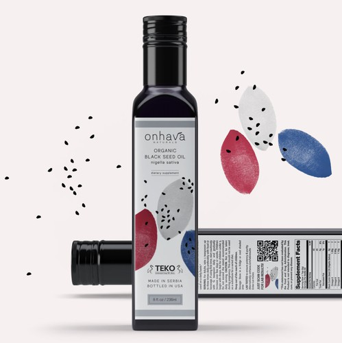 Oil design with the title 'Organic Brand Identity Pack for Onhava Naturals'