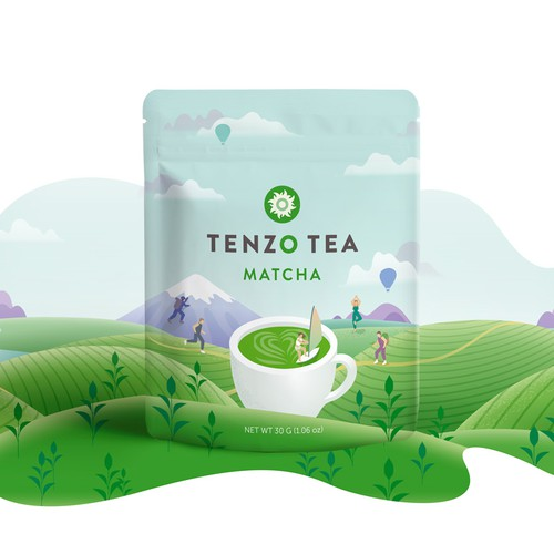 Packet packaging with the title 'Product packaging design. Matcha tea pouch design with custom illustration.'