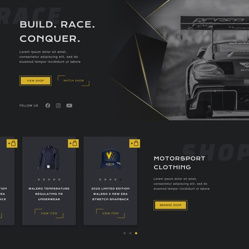 Car website with the title 'Homepage for a Luxury Motorsport Brand'