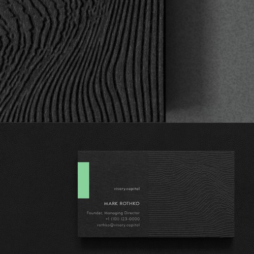 Innovative design with the title 'Impactful business cards for Visary Capital'