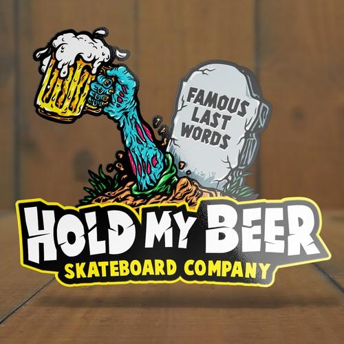 Skateboard design with the title 'Sticker Logo for Skateboard Company.'