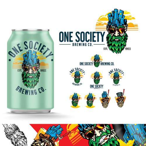 Badass design with the title 'One society brewing co.'