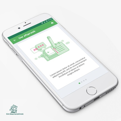 Green artwork with the title 'Subtle Illustraton for Medical App'