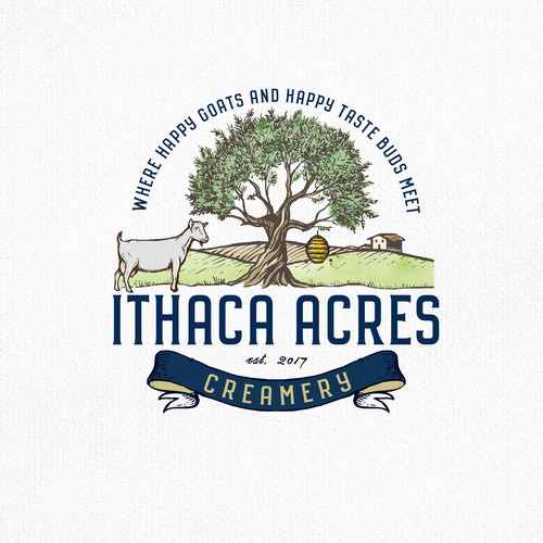 Green design with the title 'Ithaca Acres'