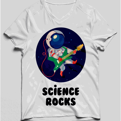 Guitar t-shirt with the title 'Rock in space'