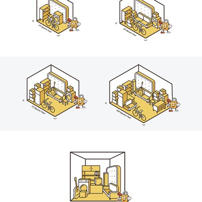 5x outlines isometric illustrations