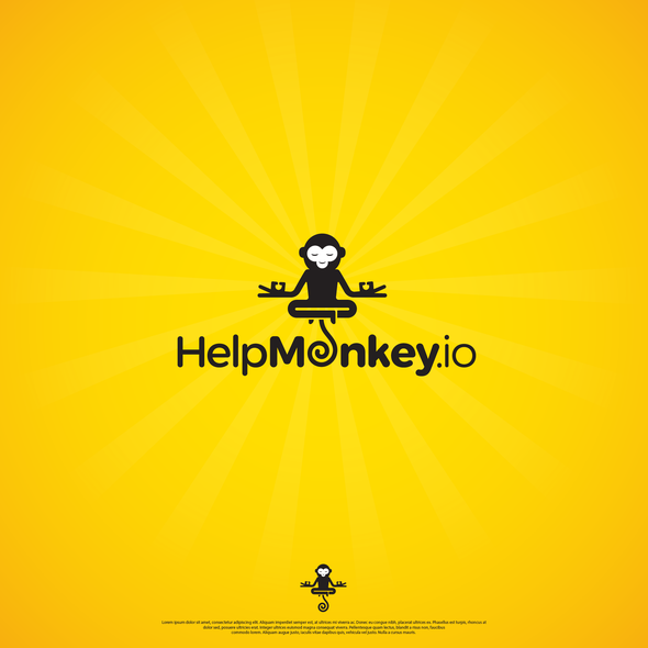 Floating logo with the title 'Easy to remember and a bit fun logo for HelpMonkey.io'