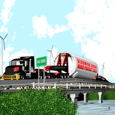 Truck hauler illustration