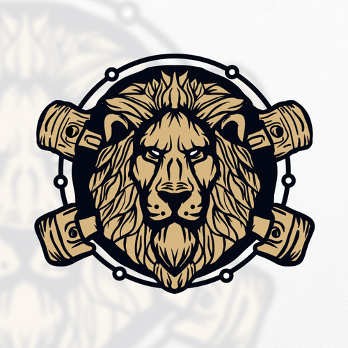 Lion head design with the title 'The ENVY Garage'