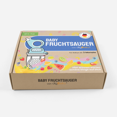 Baby packaging with the title 'Packaging design for baby fruit-pacifier'