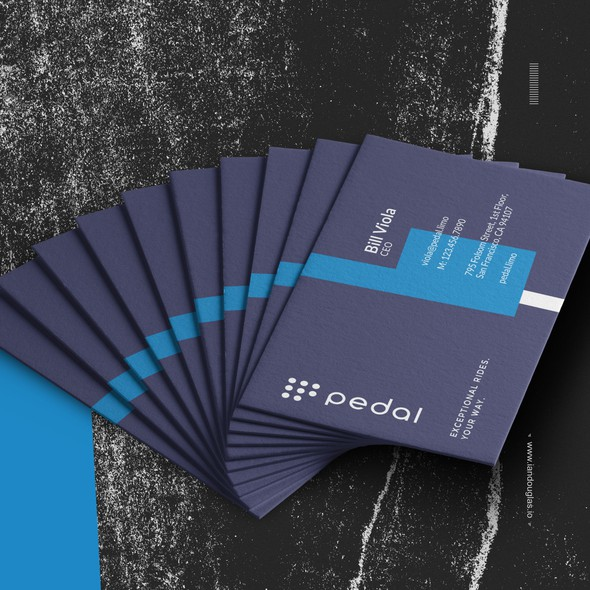 Uber design with the title 'Business cards for Pedal'