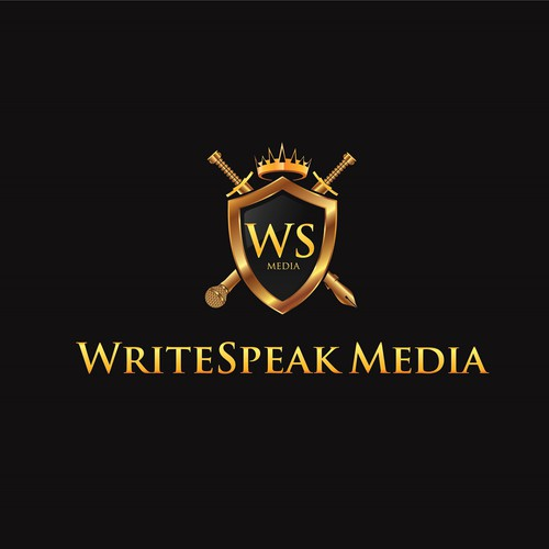 Regal design with the title 'Create a Pen & Microphone crest for WriteSpeak'