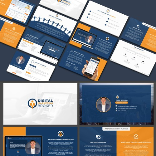 Slide design with the title 'Powerpoint Redesign for Digital broker'
