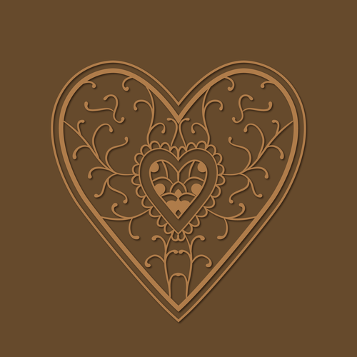 Rustic artwork with the title 'Vintage Heart Design for a Rustic Leather Journal'