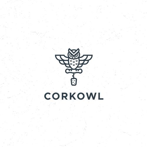 Owl design with the title 'Logo For Wine Management Platform'