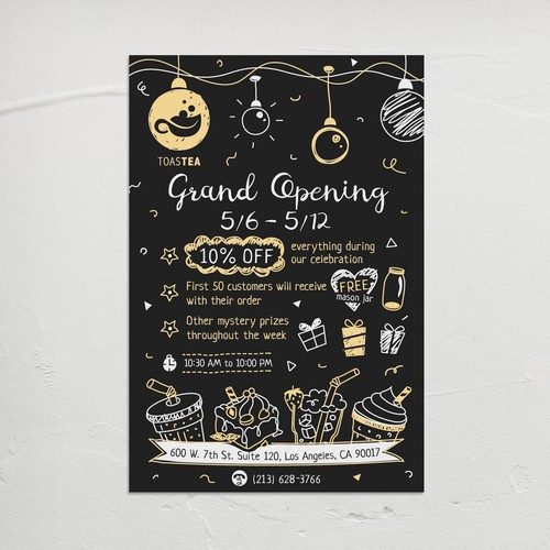 """Rustic-modern design with the title '""""Grand Opening"""" flyer design in blackboard menu style for new Tea shop in Los Angeles. '"""
