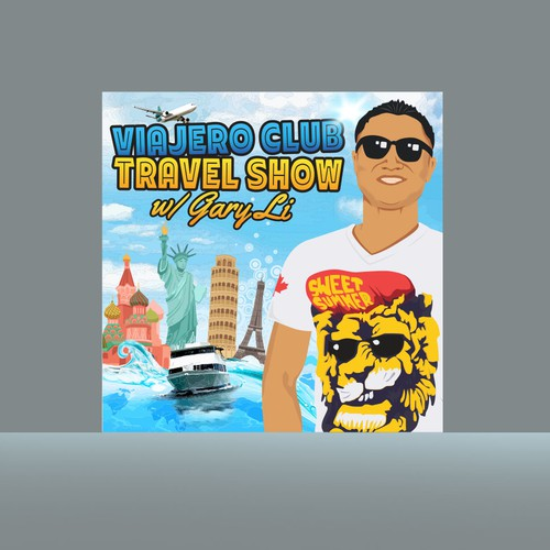 Podcast design with the title 'Travel show'