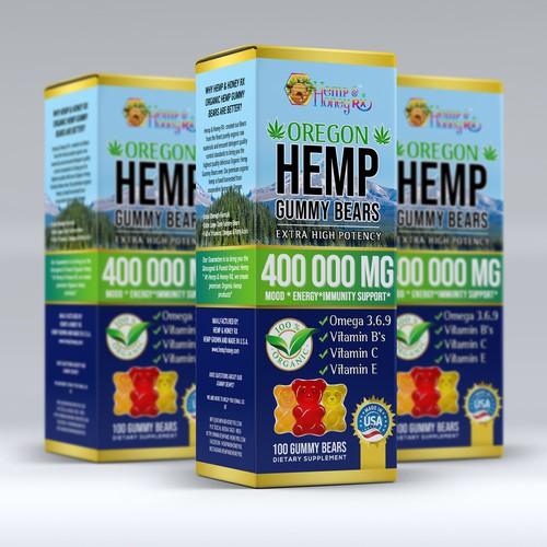 Hemp oil packaging with the title 'Box design for Hemp Gummy Bears.'