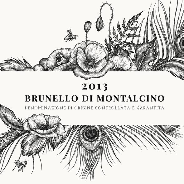 "Peacock design with the title 'Illustration for Premium Wine Label of ""Corte Pavone"" Wine Estate in Montalcino, Toscana.'"