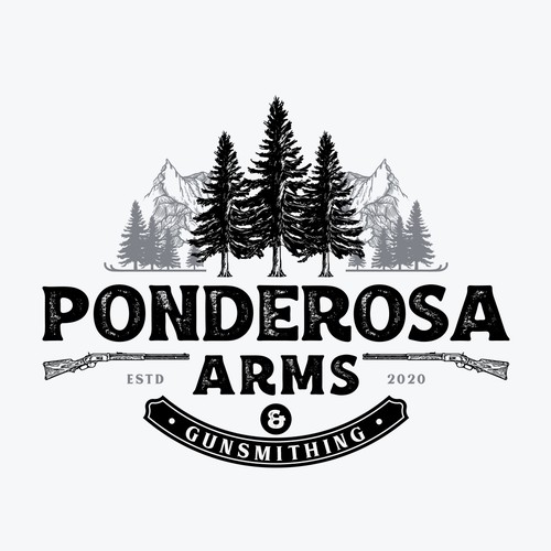 Mount logo with the title 'Ponderosa Arms and Gunsmithing'