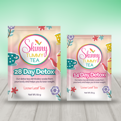 Pink packaging with the title 'Detox Tea Pouch Design'
