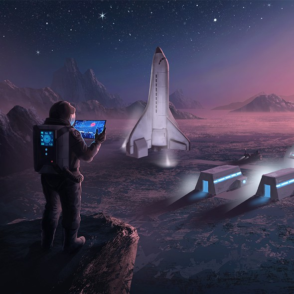 Spaceship artwork with the title 'Lunar Camp'