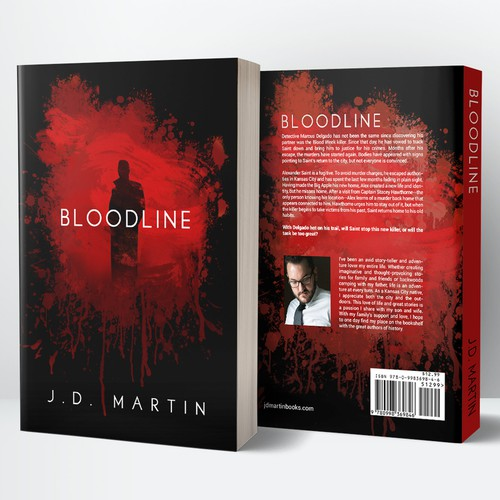 Crime book cover with the title 'Book Cover Design for Bloodline by J. D. Martin'