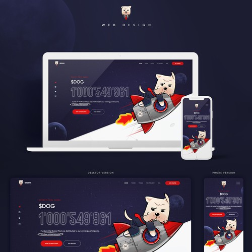 Crypto website with the title 'Fun And Creative Web Design for $DOGO'