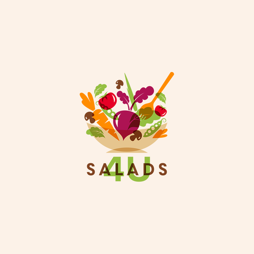 Salad design with the title 'Salads 4U'