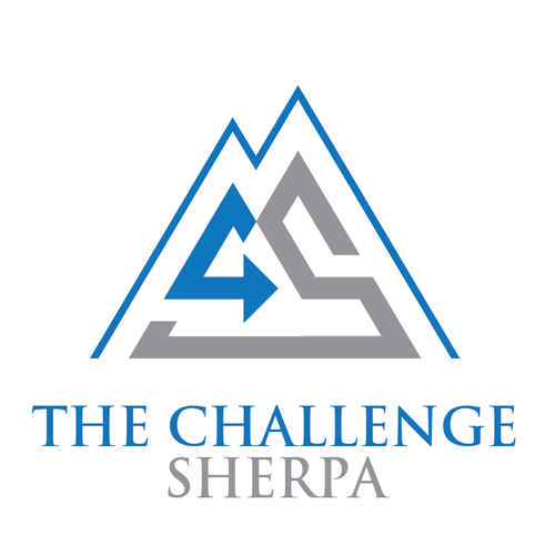 Climbing logo with the title 'Bold logo for The Challenge Sherpa'