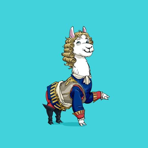 Cute animal design with the title 'llama mascot'