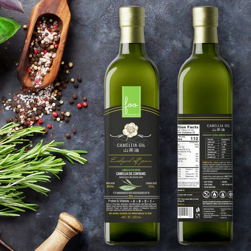 Olive oil label with the title 'Camelia oil label design'