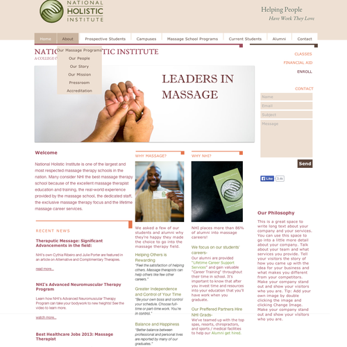 Physical therapy design with the title 'Design a Fresh, Modern Look for Our College's Website'