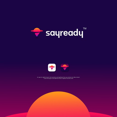 Futuristic logo with the title 'sayready '