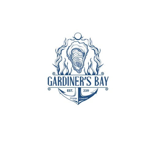 Bay logo with the title 'Gardiner's Bay Oyster Company'