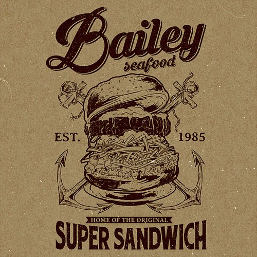 Burger design with the title 'Bailey Seafood'