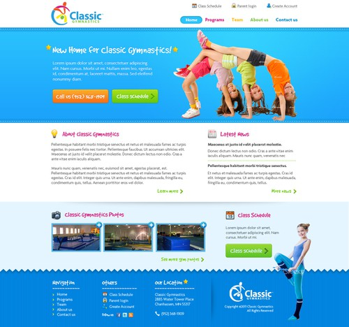 Kid website with the title 'New website design wanted for Classic Gymnastics'